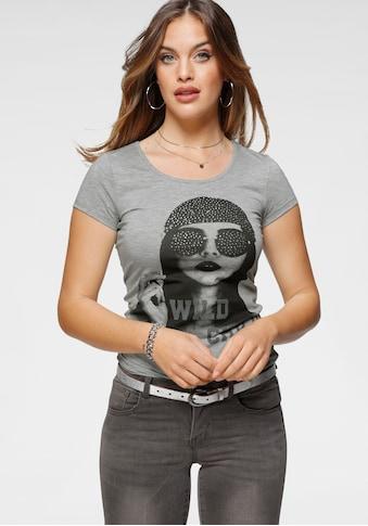 Melrose Rundhalsshirt »Girl«, mit Frontdruck und Glitzersteinen kaufen