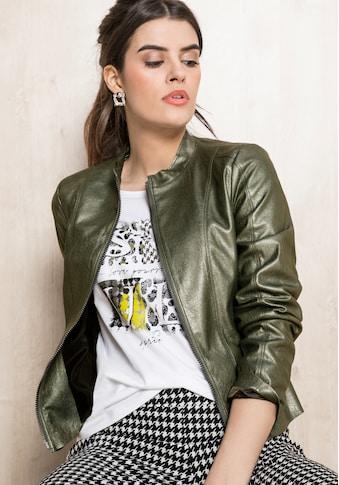 bianca Lederimitatjacke »LUCILLE«, im coolen Metallic-Look mit Zweiwege Zipp kaufen