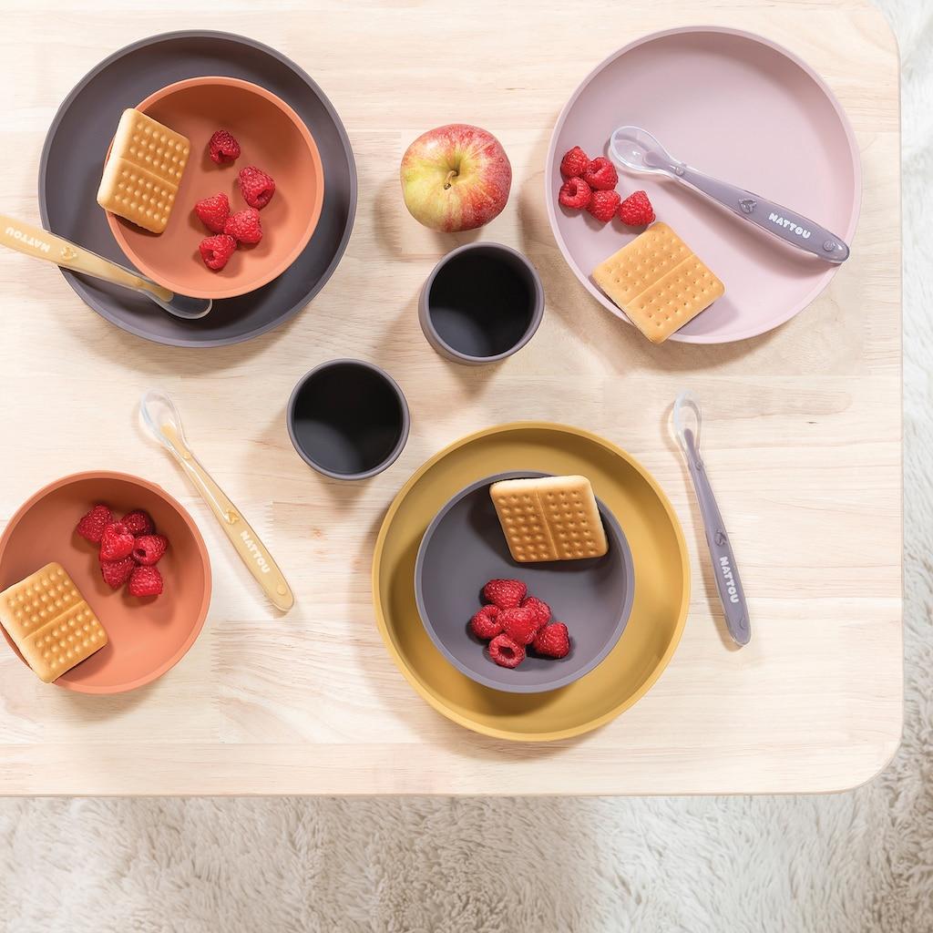 Nattou Kindergeschirr-Set »Silicon, Esslern-Set, Curry/Terrakotta«, (Set, 4 tlg.)