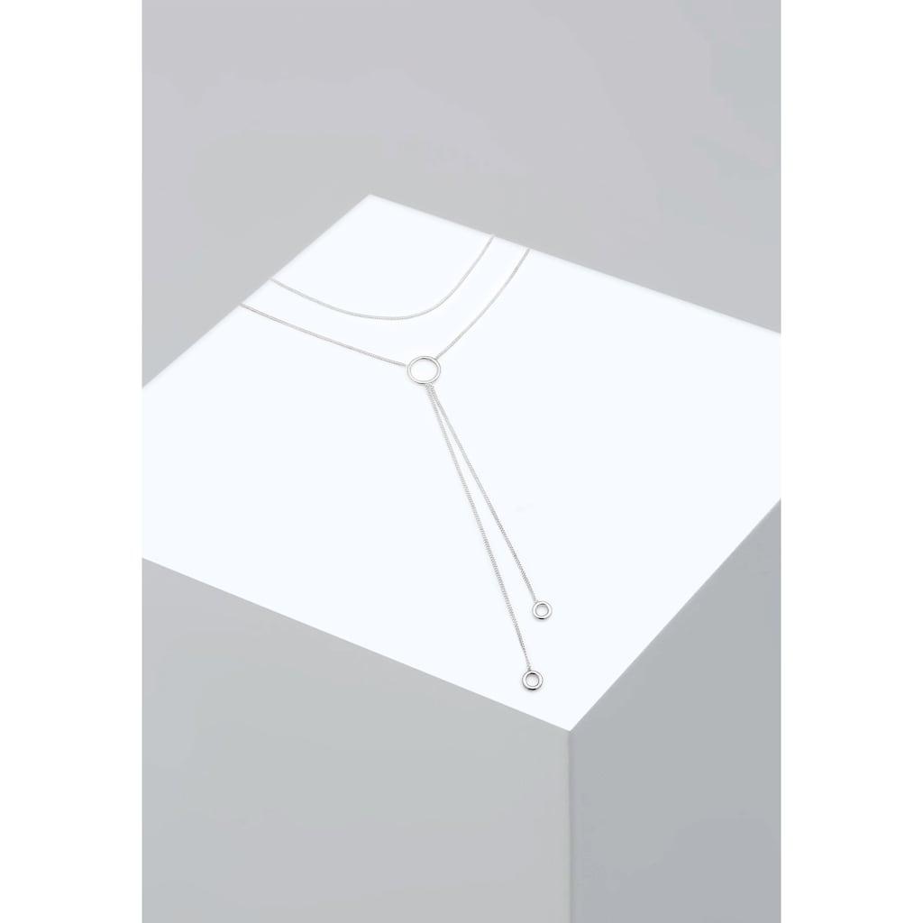 Elli Collier »Choker Y-Kette Layer Look Kreis Geo 925er Silber«