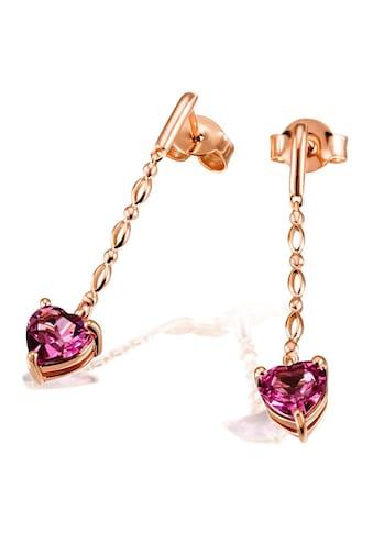 goldmaid Paar Ohrhänger, Herz 585/- Rotgold 2 Rhodolithe kaufen