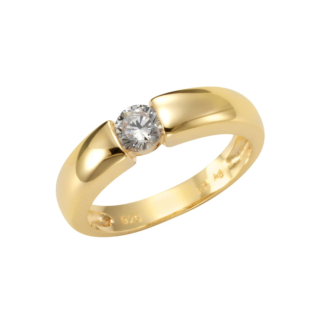 Firetti Silberring »Spannring-Optik, glänzend vergoldet, klassisch«, mit Zirkonia