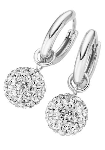 Firetti Paar Creolen »Kugel, rhodiniert, massiv«, mit Swarovski-Kristallen und... kaufen
