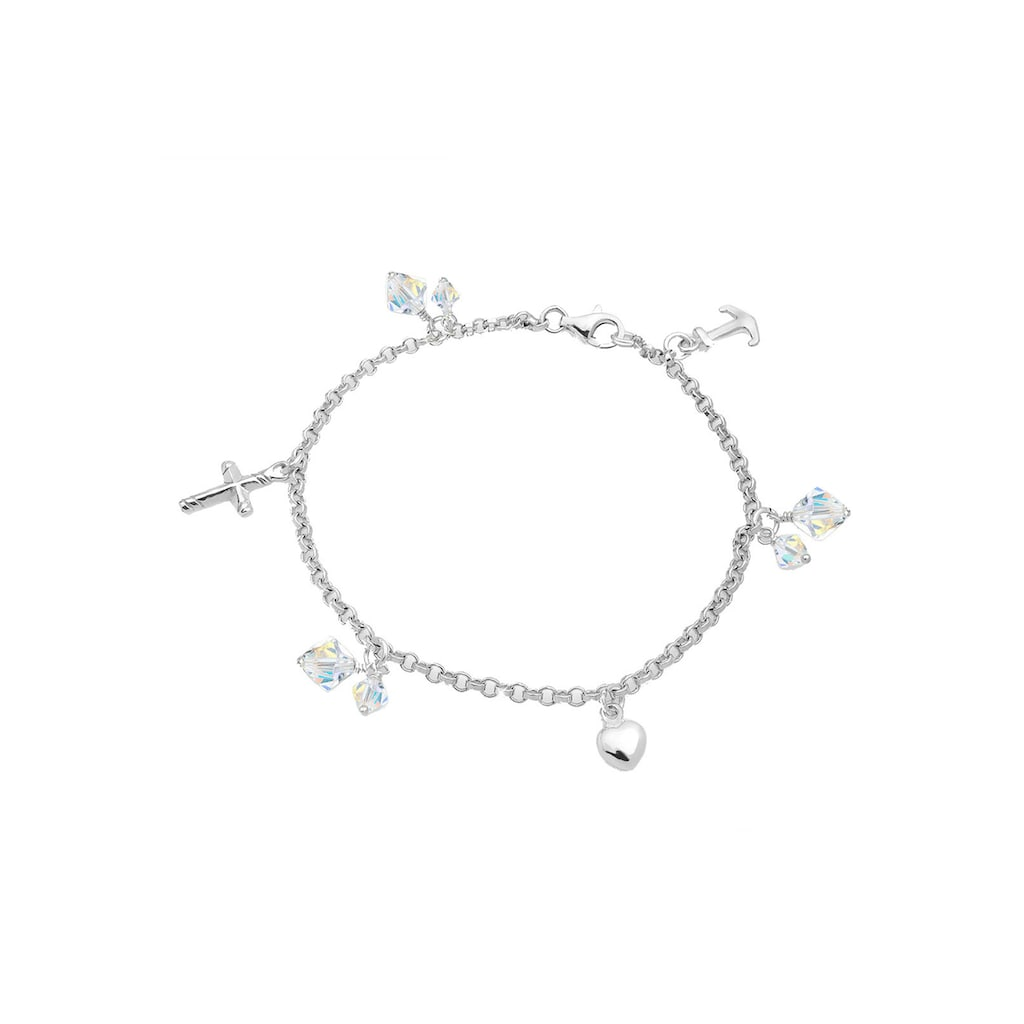 Elli Bettelarmband »Kreuz Herz Anker Kristalle Silber«