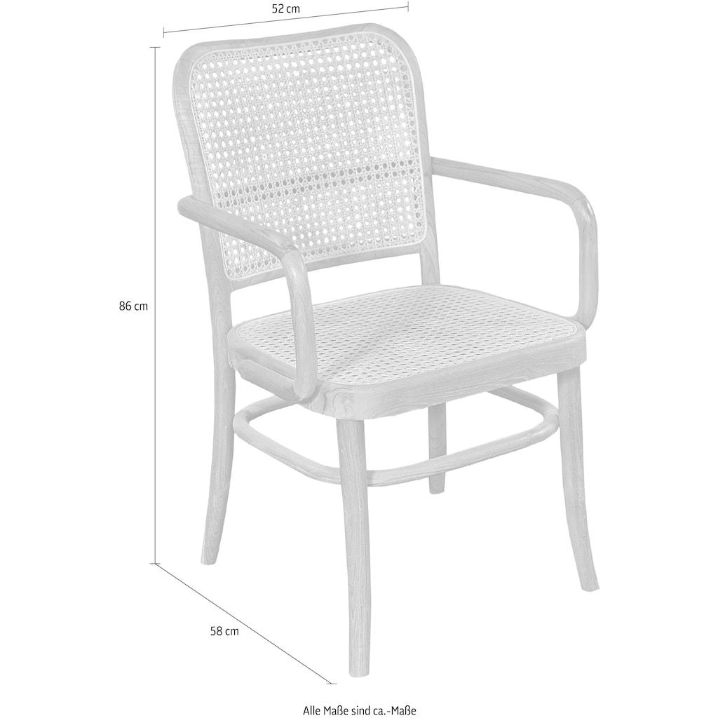 SIT Esszimmerstuhl, mit Wiener Geflecht, Armlehnstuhl in geschwungener Form