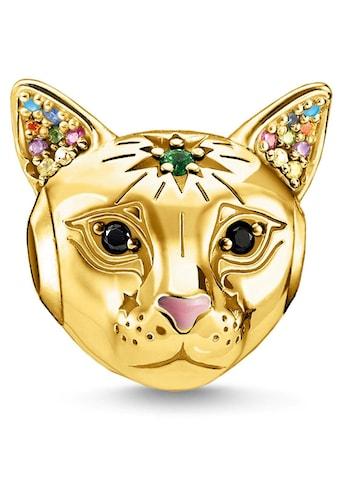 THOMAS SABO Bead »Katze gold, K0327-471-7«, mit Emaille, synth. Korund, Glassteinen... kaufen