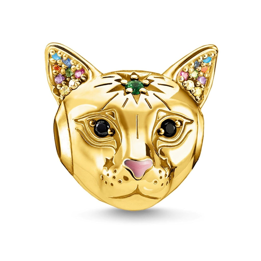 THOMAS SABO Bead »Katze gold, K0327-471-7«, mit Emaille, synth. Korund, Glassteinen und Zirkonia