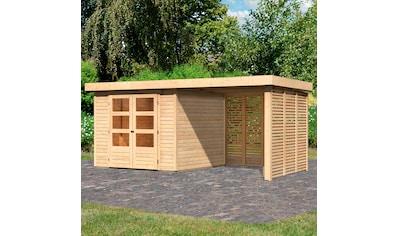 KARIBU Set: Gartenhaus »Arnis 3,5«, BxT: 491x262 cm, mit Anbau inkl. Seiten -  und Rückwand kaufen