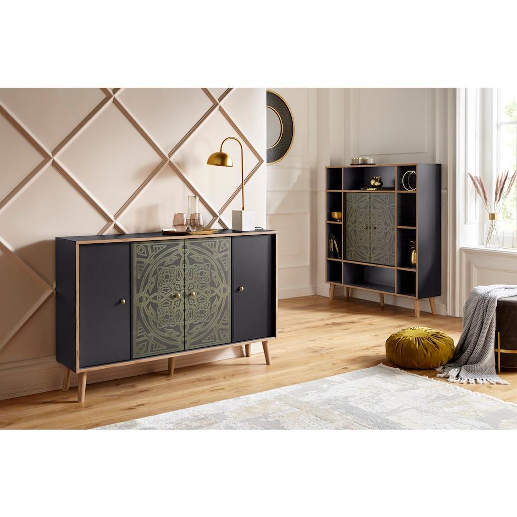 """Leonique Kommode »Clivia«, Kommode """"Clivia"""", mit dekorativem Print auf den Türen, Breite 137 cm"""