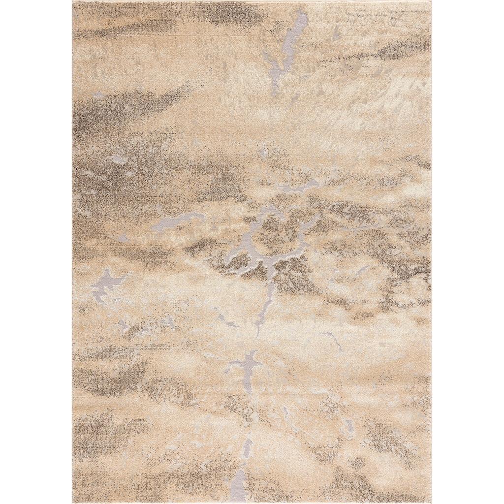 my home Teppich »Marmor«, rechteckig, 12 mm Höhe, Marmor-Optik, Wohnzimmer