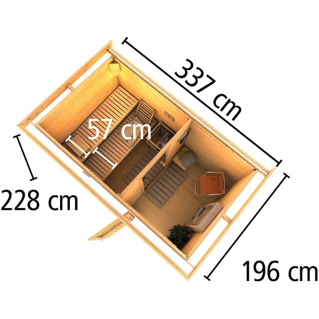 Karibu Saunahaus »Uwe 1«, 9-kW-Bio-Ofen mit ext. Steuerung, Vorraum