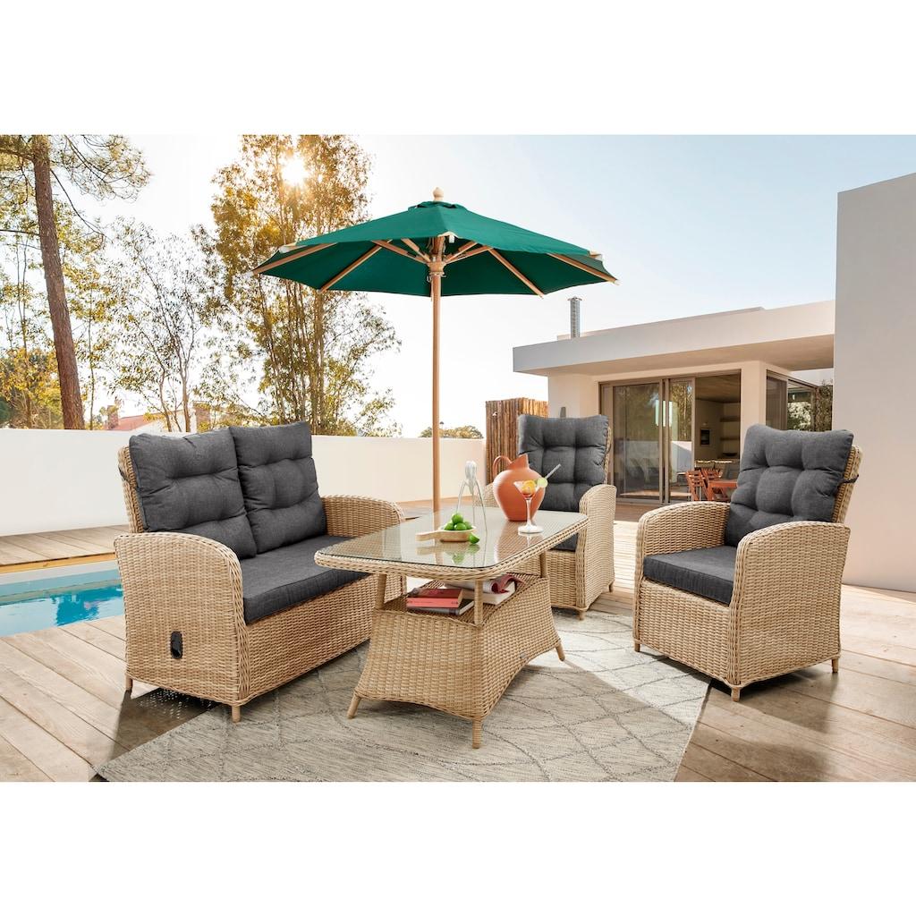 Destiny Loungeset »MERANO II«, (Set), Sofa Set natur meliert, Polster grau, pflegeleichtes, UV beständiges Polyrattan