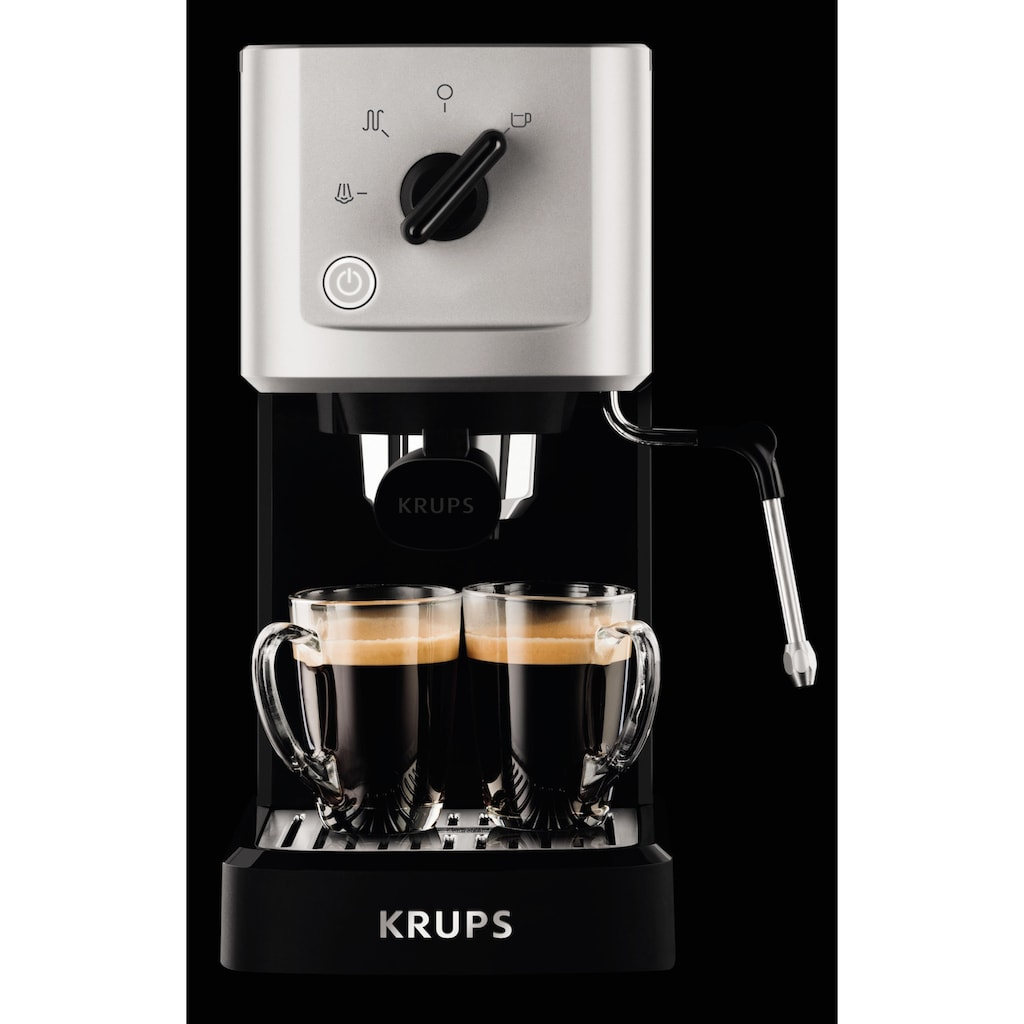 Krups Espressomaschine »Calvi Steam & Pump XP3440«, Edelstahl, 1 L Wassertank, Sehr kompakt, Schnelles Aufheizen