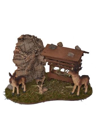 Alfred Kolbe Krippen - Zubehör »Futterraufe mit Rehfamilie« (Set, 5 Stück) kaufen