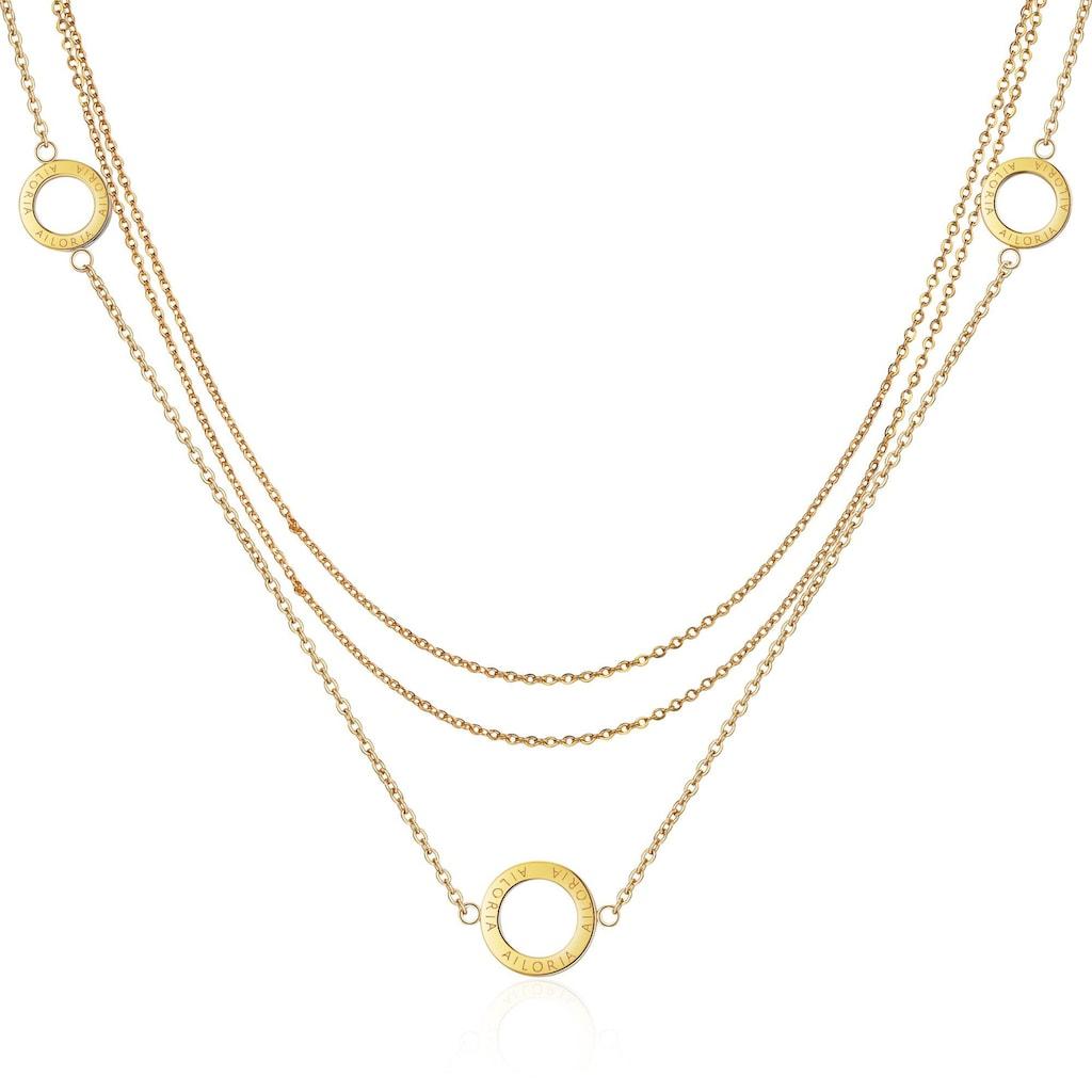 AILORIA Kette mit Anhänger »ANNABELLE Halskette Gold«, Hochglanz-Finish