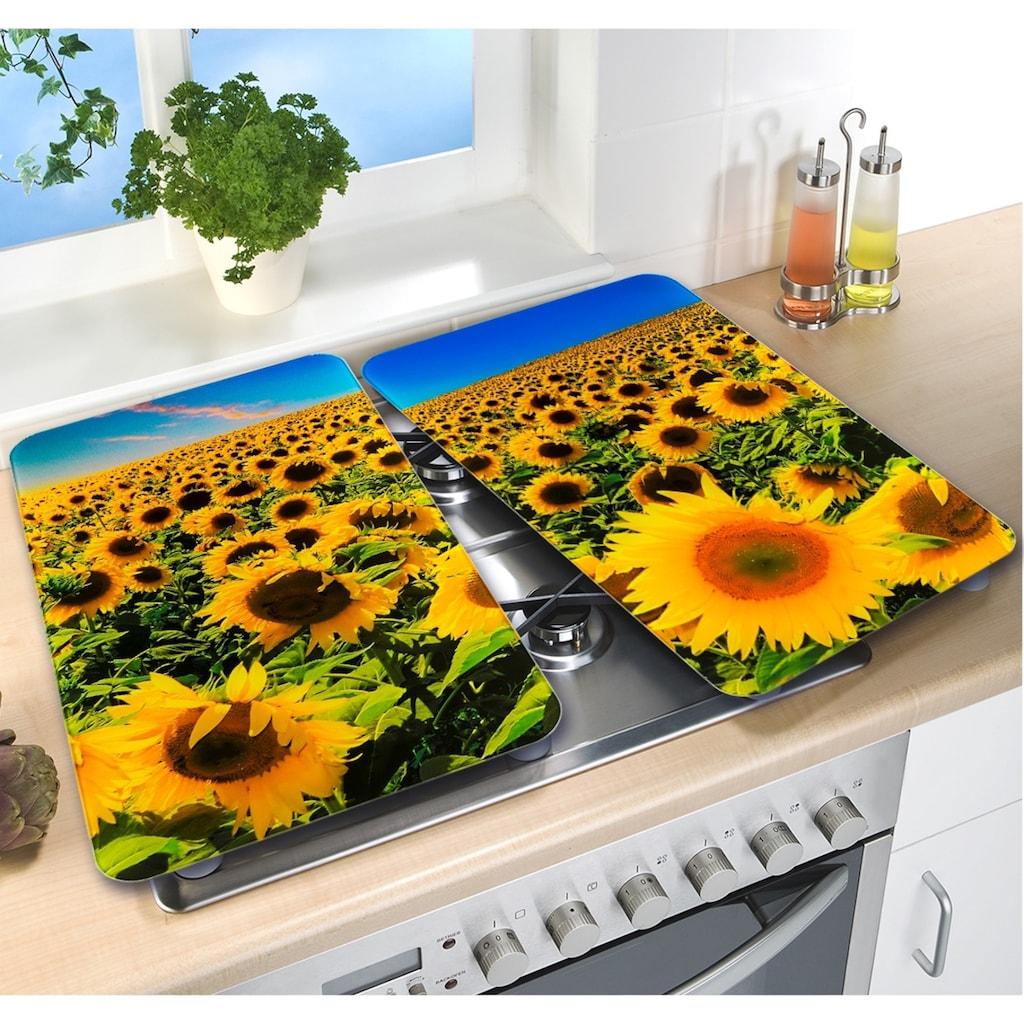 WENKO Herd-Abdeckplatte »Universal Sonnenblumenfeld«, (Set, 2 tlg.)