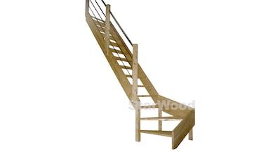 STARWOOD Raumspartreppe »Korfu«, offene Stufen, 1/4 links gewendelt, Holz - Edelstahlgel. links kaufen