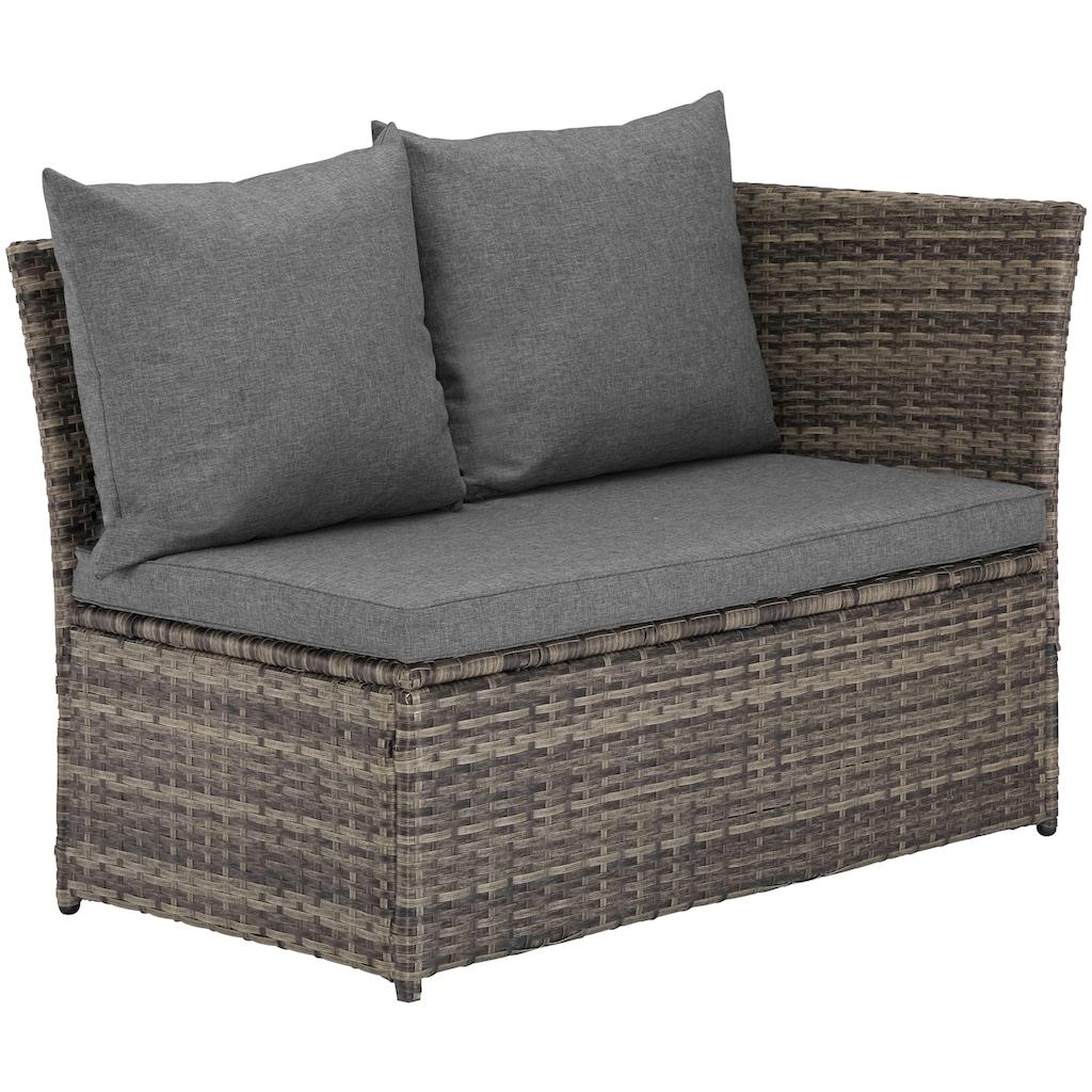KONIFERA Loungeset »Marseille«, (8 tlg.), Sofa, Tisch 57x57 cm, Hocker, Polyrattan