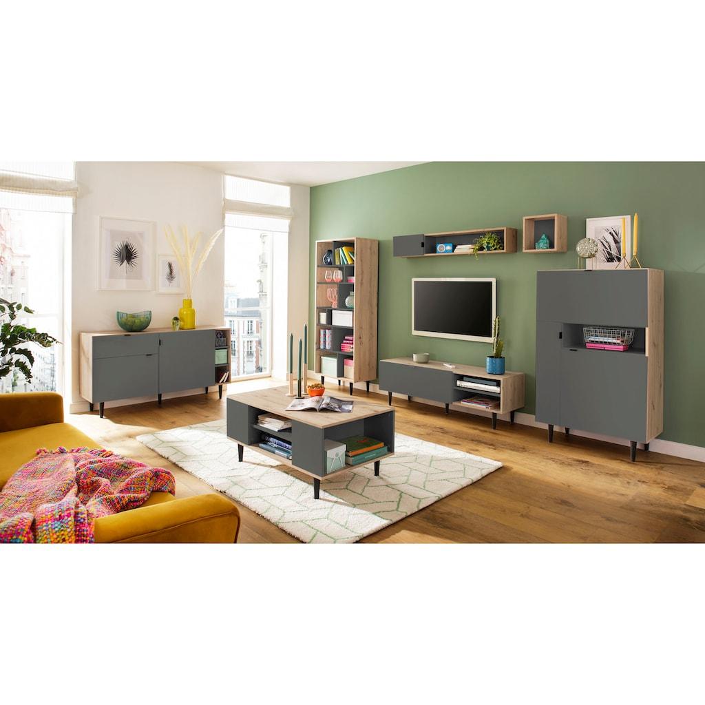 my home Standregal »Legro«, mit schwarz lackierten Buchenholzbeinen, Zweifarbigkeit, diversen Stauraummöglichkeiten, Höhe 176 cm