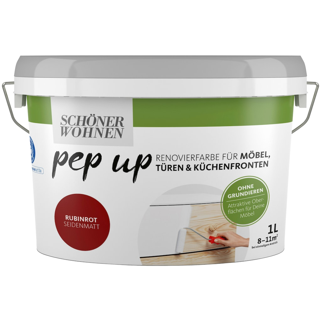 SCHÖNER WOHNEN-Kollektion Lack »pep up - rubinrot«, seidenmatt, für Möbel, Türen und Küchenfronten, 1 l