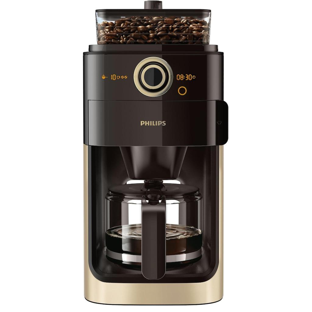 Philips Kaffeemaschine mit Mahlwerk »Grind & Brew HD7768/90«, aromaversiegeltes Bohnenfach, champagner/schwarz