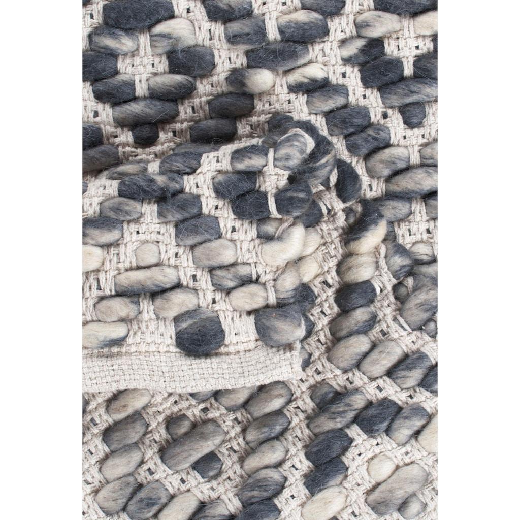 TOM TAILOR Wollteppich »Diamond«, rechteckig, 8 mm Höhe, reine Wolle, Flachgewebe, handgeknüpft, Wohnzimmer