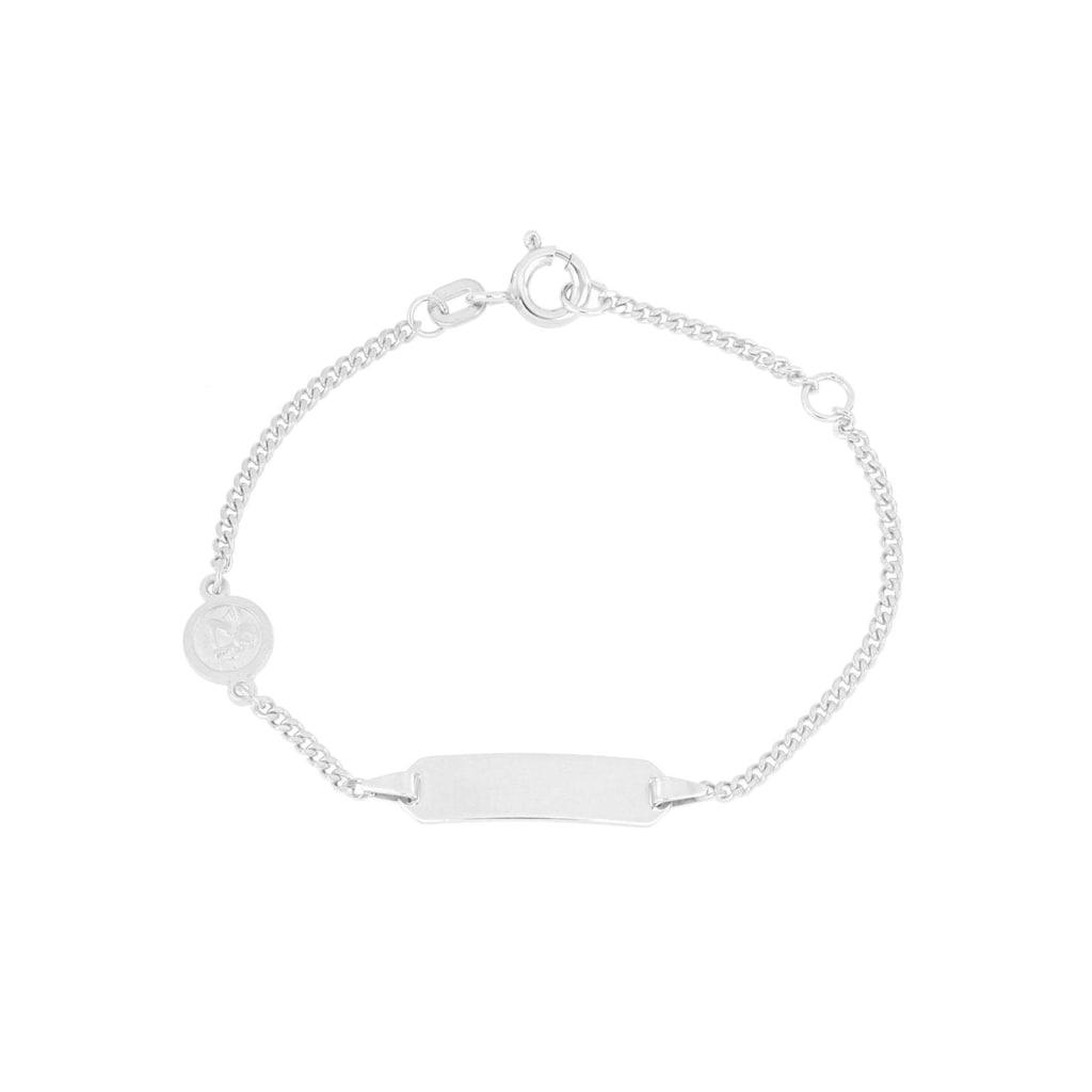 Firetti ID Armband »Einhänger Engel, Gravurplatte, 2-fach diamantiert, poliert, rhodiniert, mit Gratisgravur«