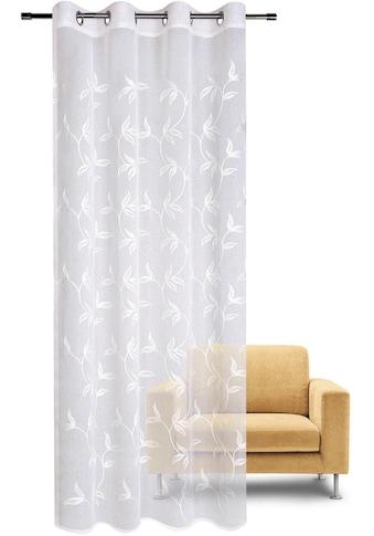 Gerster Vorhang »Fabia«, HxB: 235x140, Ösenschal mit Blattranke bestickt kaufen