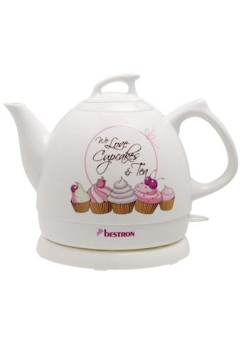 bestron Wasserkocher »im Retro Design, Sweet Dreams«, 0,8 l, 1800 W, Keramik, Farbe: Weiß kaufen