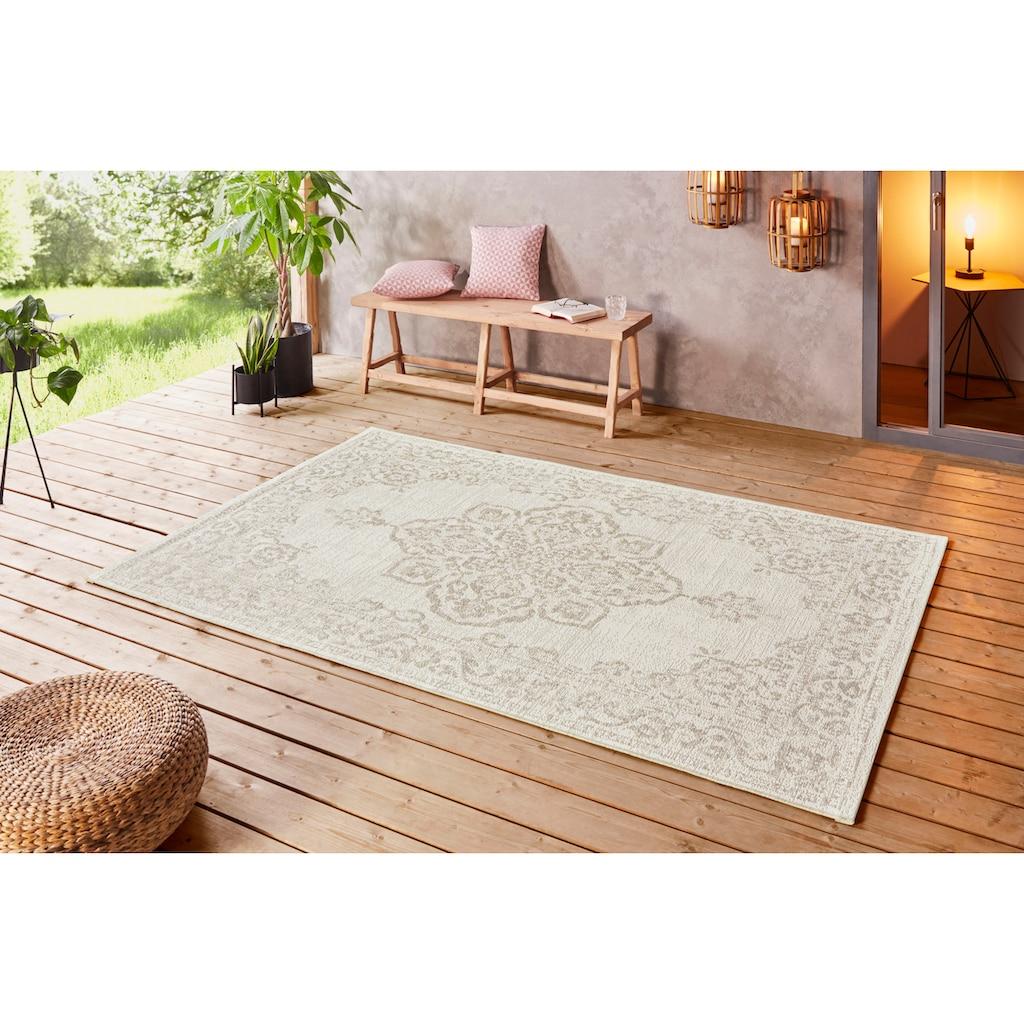 bougari Teppich »Tilos«, rechteckig, 8 mm Höhe, Flachgewebe, In- und Outdoor geeignet, Vintage-Design, Für Terasse und Balkon, Wohnzimmer