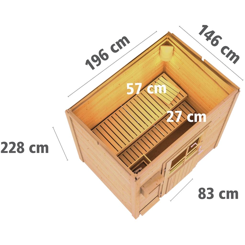 Karibu Saunahaus »Wim«, 9-kW-Ofen mit ext. Steuerung