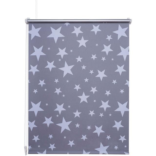Seitenzugrollo »Druckdesign Sterne«, Liedeco, verdunkelnd, ohne Bohren, freihängend