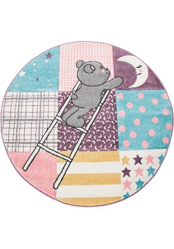 Paco Home Kinderteppich »Ela 399«, rund, 17 mm Höhe, mit Konturenschnitt, Kinderzimmer kaufen