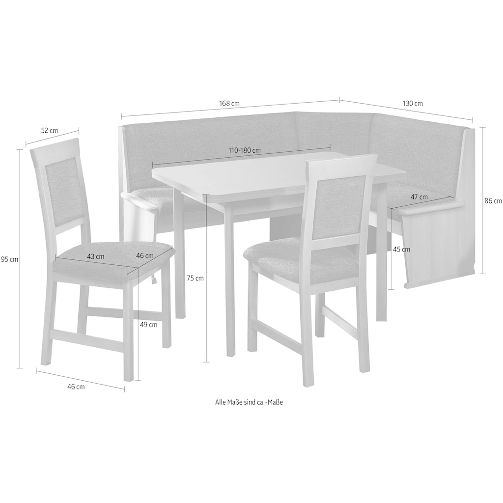 SCHÖSSWENDER Eckbankgruppe »Isar«, Eckbank umstellbar, mit Auszug links und rechts 110(180)cm, Stühle massiv