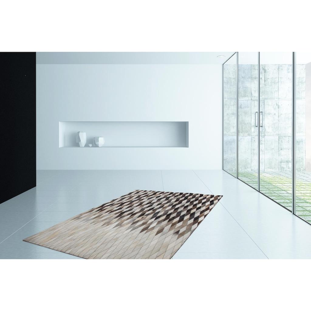 Kayoom Fellteppich »Lavish 510«, rechteckig, 8 mm Höhe, Patchwork-echtes Leder-Fell, Wohnzimmer
