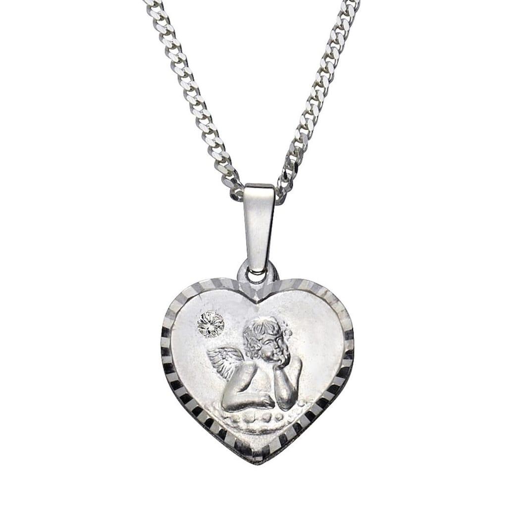 Firetti Kette mit Anhänger »Herz mit Schutzengel«, mit Kristallstein