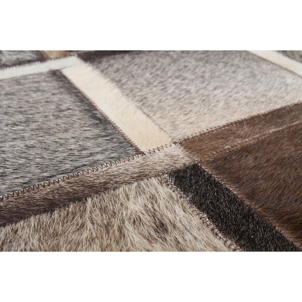 Kayoom Lederteppich »Lavish 410«, rechteckig, 8 mm Höhe, Patchwork-echtes Leder-Fell, Wohnzimmer