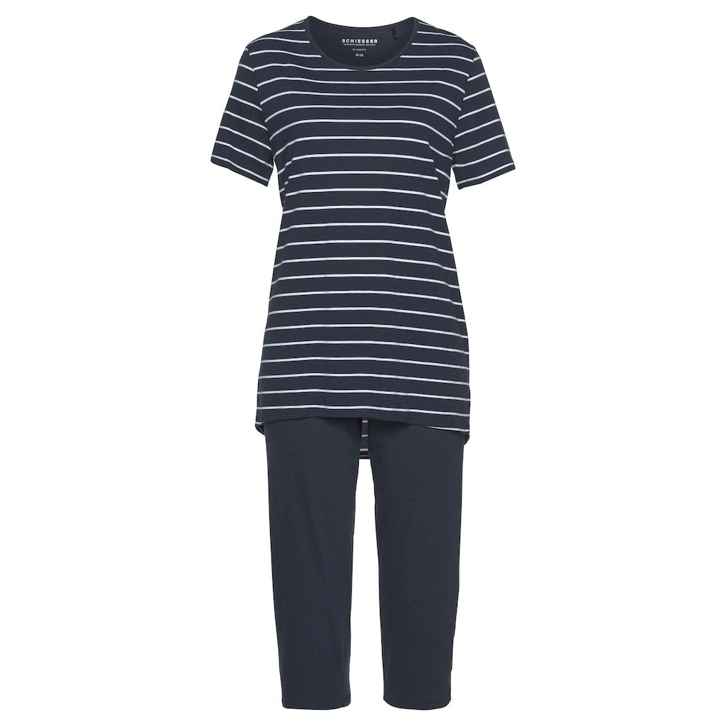 Schiesser Capri-Pyjama, mit klassischem Streifenmuster