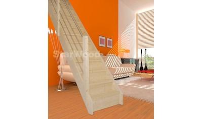 STARWOOD Raumspartreppe »Korfu«, geschl. Stufen, gerade, Holz - Edelstahlgeländer links kaufen