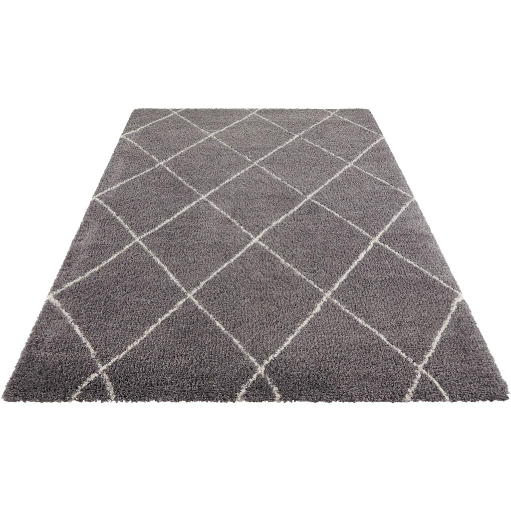 Leonique Hochflor-Teppich »Belle«, rechteckig, 35 mm Höhe, Rauten Design, weiche Haptik, Wohnzimmer