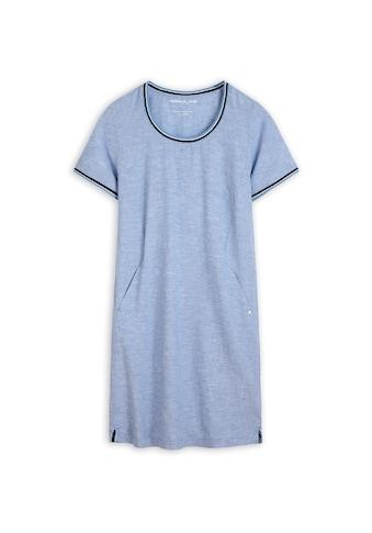 Sandwich Kleid aus Leinen mit elastischer, gestreifter Paspel kaufen