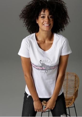 Aniston CASUAL T-Shirt, mit Stickerei, Leopard und Streifen verziert - NEUE KOLLEKTION kaufen
