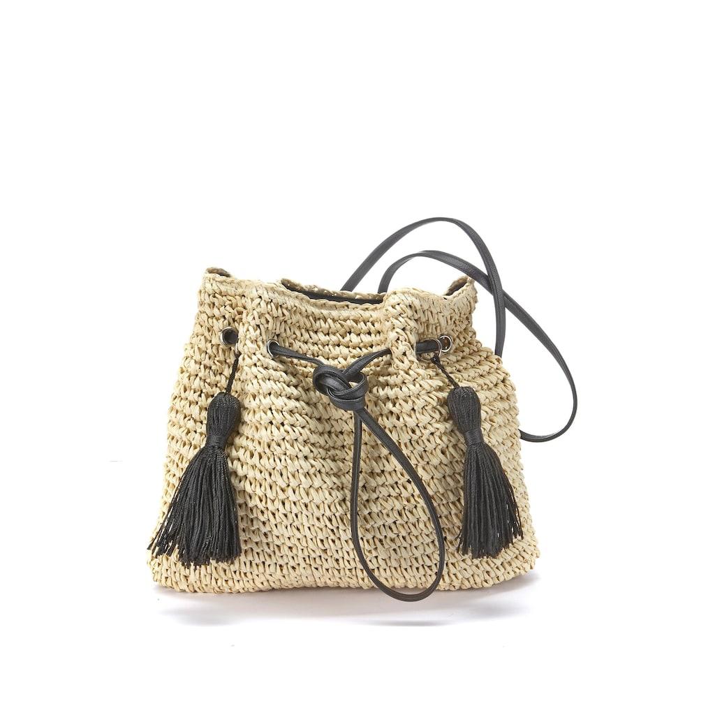 LASCANA Umhängetasche, Strandtasche aus leichtem Papierstroh mit modischen Tasseln