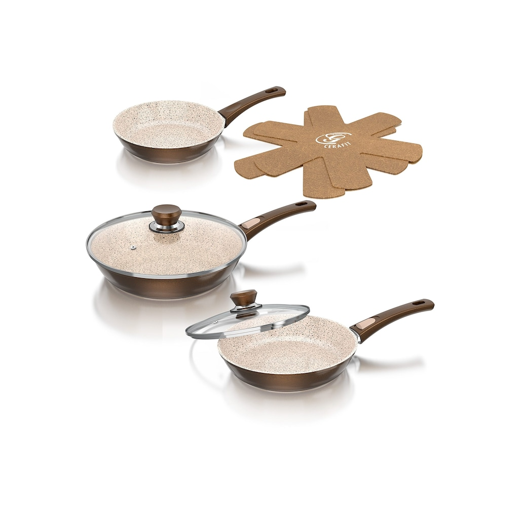 Genius Pfannen-Set, Edelstahl, (Set, 7 tlg.), Abnehmbarer Griff, Aluminium, Keramikbeschichtung, Induktion