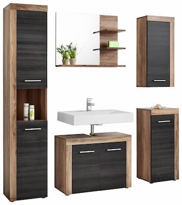 Badmöbelserie in schwarz mit braunen Holzelementen