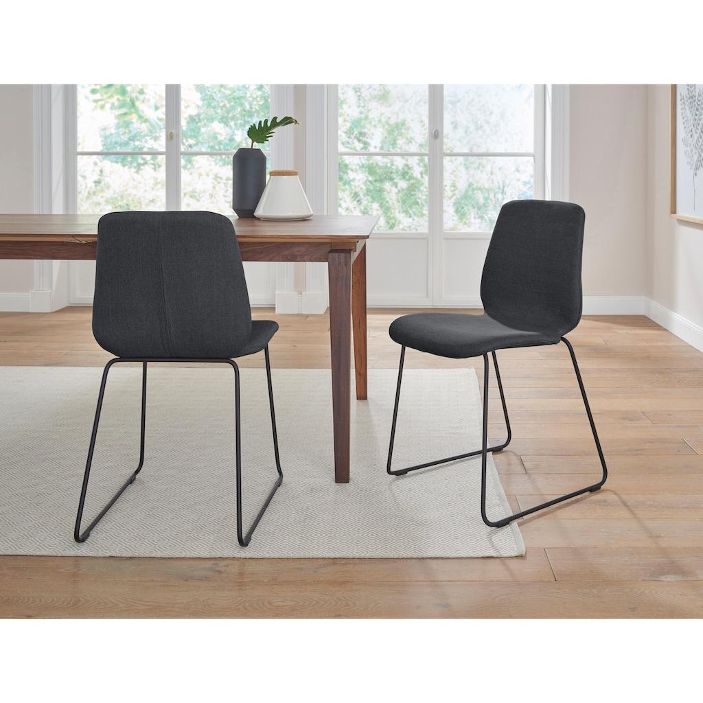 PBJ Stuhl »Sledge Cut«, (2er-Set) mit Kufengestell aus schwarzem Metall