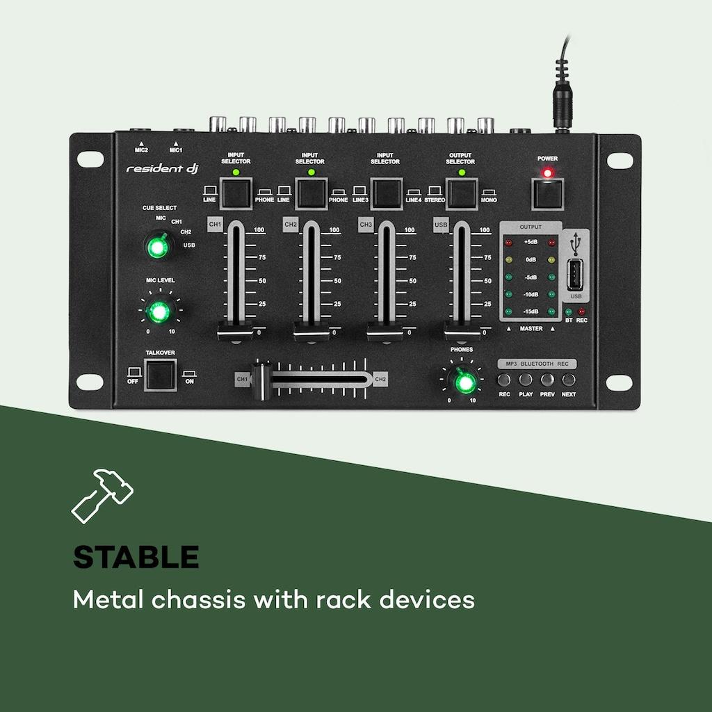 resident dj Kanal Mixer Mischpult, BT, USB, MP3, 2 x M