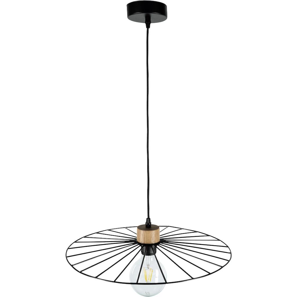 BRITOP LIGHTING Hängeleuchte »Antonella«, E27, 1 St., Dekorative Leuchte aus Metall mit Elementen aus Eichenholz mit FSC®-Zertifikat, passende LM E27 / exklusive, Made in Europe