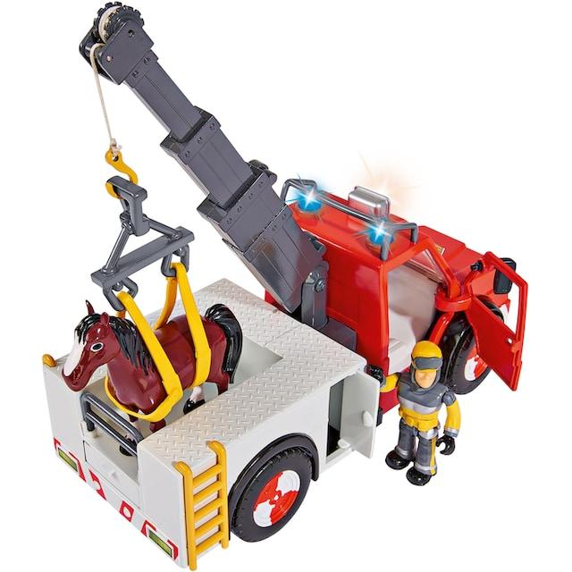 """SIMBA Spielzeug-Kran """"Feuerwehrmann Sam, Phoenix mit Figur, Pferd und Blaulicht"""""""