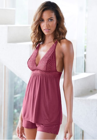 LASCANA Shorty, mit transparentem Spitzeneinsatz kaufen